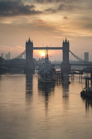 Photo for Stunning Autumn sunrise over Tower Bridge and River Thames in London - Royalty Free Image