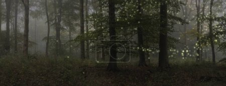 Photo for Stunning fantasy style landscape image of fireflies glowing in night time forest scene - Royalty Free Image