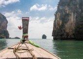 Long boat tropical beach, Andaman Sea, Thailand