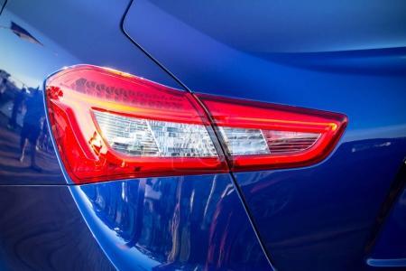 Taillight of luxury blue car