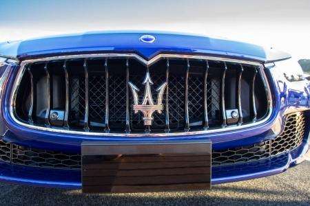 Close up logo of Maserati