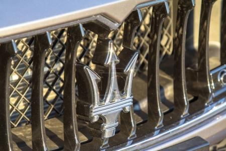 Close up logo of Maserati