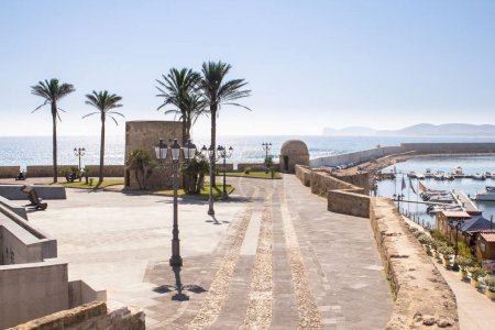 Watchtowers on the city walls in Alghero, Italy