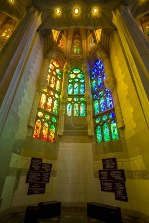 Sagrada Familia, interior view in Barcelona
