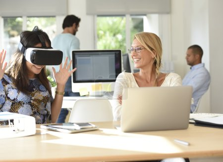 Photo for People at work testing VR headset equipment - Royalty Free Image