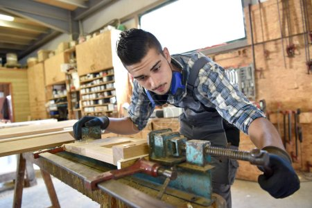 man in woodwork training course