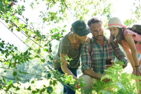 Family on rambling day looking at forest plants an...
