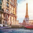 Small paris street with view on the famous paris E...