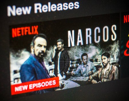 Netflix on computer screen - new narcos episodes