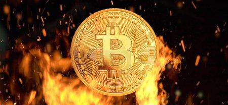 Bitcoin money burning in flames
