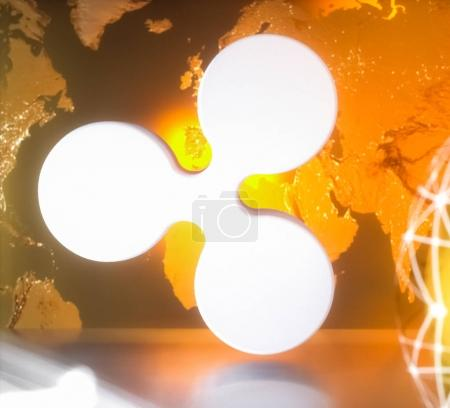 Ripple cryptocurrency with worldmap
