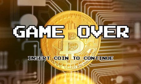 Cryptocurrency - Bitcoin BTC virtual money on world map background - game over, crash. 3D rendering