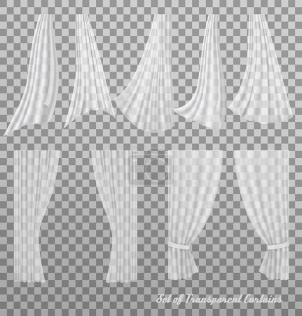 Big collection of transparent curtains. Vector