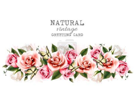 Illustration pour Fond de vacances avec de belles fleurs et des papillons. Vecteur . - image libre de droit