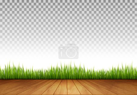 Background with Wooden Floor and Green Grass A transparent Back