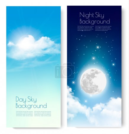 Illustration for Two contrasting sky banners - Day and Night. Vector. - Royalty Free Image