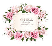 "Постер, картина, фотообои ""Natural vintage greeting card with roses. Vector. """