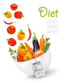 Fruit in a bowl with a nutritional labelConcept of diet Vecto