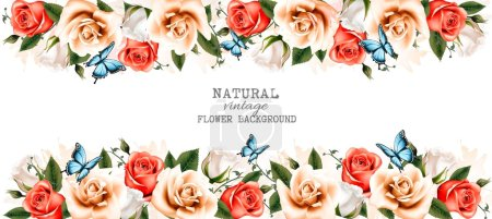 Illustration for Horizontal banner with roses and butterflies. Vector. - Royalty Free Image