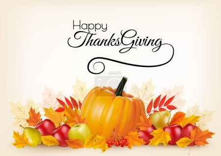Illustration for Thanksgiving background with autumn fruit and leaves. Vector. - Royalty Free Image