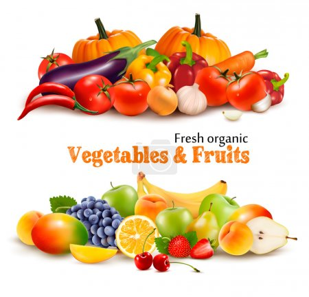Illustration for Background With Organic Fresh Vegetables. and Fruits Healthy Food. Vector illustration - Royalty Free Image