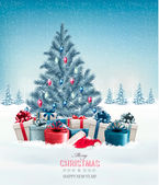 Christmas tree with presents background Vector