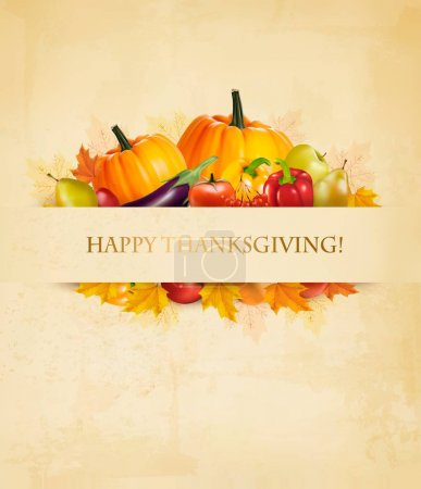 Illustration for Retro Happy Thanksgiving Background. Vector. - Royalty Free Image