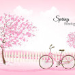Beautiful spring nature background with a blossomi...