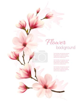 Illustration for Beautiful pink magnolia background. Vector. - Royalty Free Image