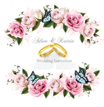 Illustration pour Carte de voeux avec roses, carte d'invitation au mariage. Illustration vectorielle . - image libre de droit