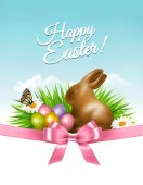 Spring Easter background Easter eggs in grass with flowers Vector