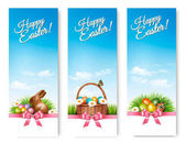 Three banners with Easter backgrounds Eggs in baskets and a cho