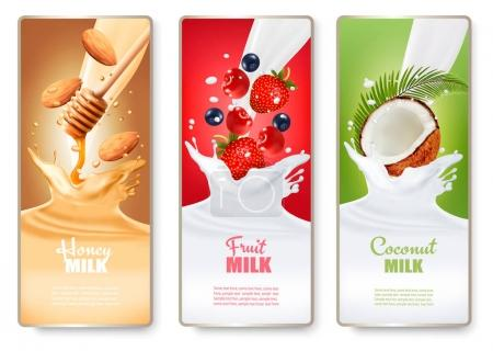 Illustration for Set of three labels of of fruit in milk splashes. Strawberry, blueberry, cherry, coconut, almond, honey. Vector. - Royalty Free Image