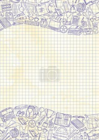 Seamless pattern with illustration of education