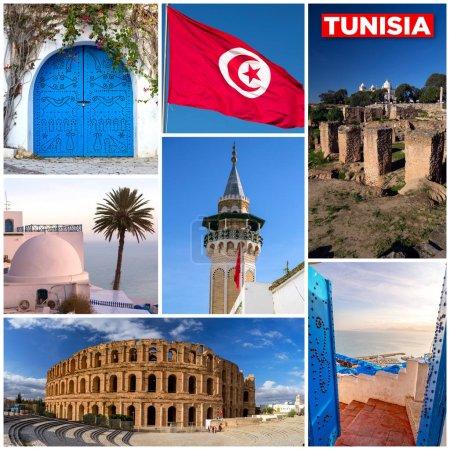 Tunisia touristic landmarks photo mosaic