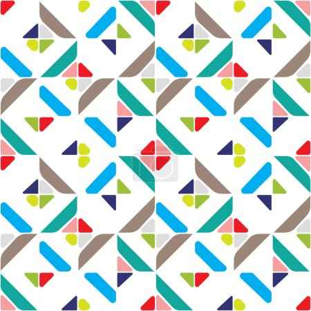 Illustration for Abstract geometric seamless pattern with multicolored diagonal striped patterns, colorful vector rhombus background for web and print - Royalty Free Image