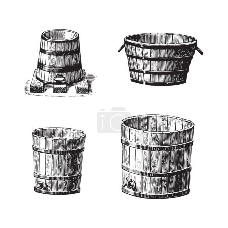 Illustration for Set of wine barrels, wooden containers with tap, vintage engraved illustrations - Royalty Free Image