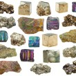 Set of various iron pyrite mineral crystals, stone...