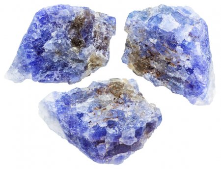 Set of raw tanzanite (blue violet zoisite) crystal...
