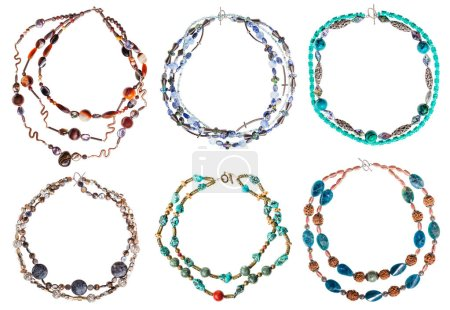 set of round necklaces from gem stones isolated