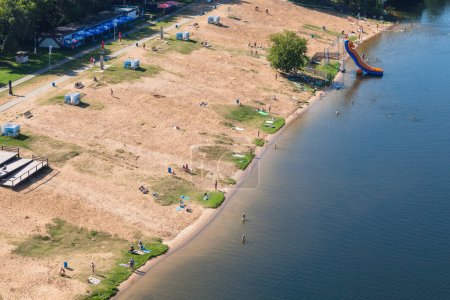 Sand beach in Picturesque bay of Moscow River