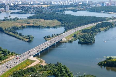 bird's eye view of Novorizhskoye Shosse over river