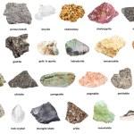 Set of natural mineral specimens with name (doleri...
