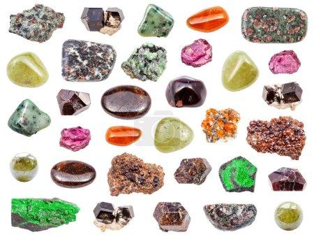 Set of various Garnet gemstones isolated on white ...