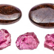 Set of various pyrope garnet gemstones isolated on...