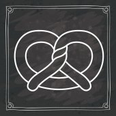 Pretzel icon Bakery food daily and fresh theme Frame blackboard and grunge background Vector illustration