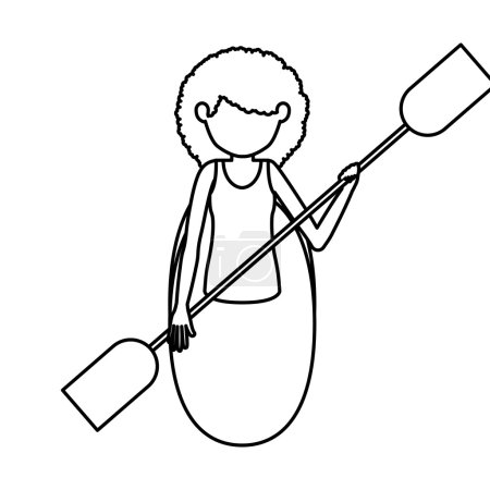 Silhouette of girl rowing design