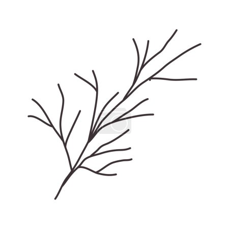 stem silhouette drawing with branches