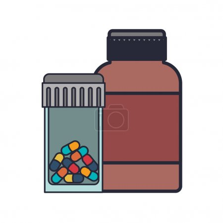 Colorful pill bottle and remedy bottle