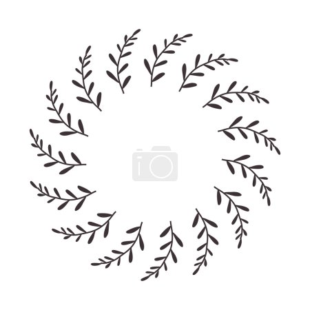 leaves and branches in circular frame